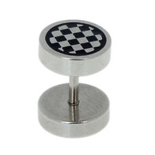 Goth Style- Chequered Grid Stainless Steel Ear Stud Punk