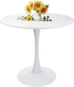 Round White Dining Kitchen Table Modern Leisure Table with Wooden Legs for