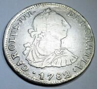 1782/1 PR Spanish Silver 2 Reales Piece of 8 Real Colonial Pirate Treasure Coin