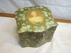 Vintage Shirt Collar Dresser Box Celluloid Top Victorian Woman Jewelry Trinket