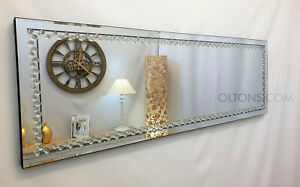 Rhombus Floating Crystal Rectangle Wall Mirror Glass Full Length Frame 120x40cm