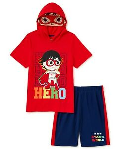 Ryan's World Boys Hoodie T Shirt Shorts Size 4-10 Set Outfit YouTube Costume NWT