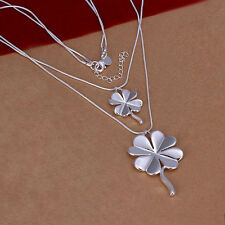 NEW Free Shipping 925 Sterling Silver Four Leaf Clover Charms Neckklace N218