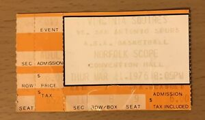 1976 SAN ANTONIO SPURS AT VIRGINIA SQUIRES ABA BASKETBALL TICKET STUB GERVIN B9