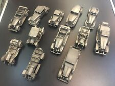 The Danbury Mint Pewter Replica Cars Lot 12 Pieces!