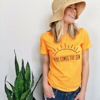 Sunrise T-shirts Here Comes The Sun Women Fashion Cotton Tee Shirt Unisex Tops