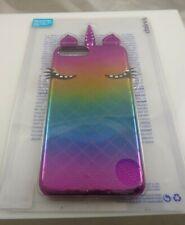 fits iPhone 6 plus, 7 & 8 + plus phone case Unicorn eyes horn pink purplles blue