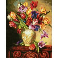"""Dimensions Gold Collection Counted Cross Stitch Kit Parrot Tulips 12"""" X 15""""  NEW"""