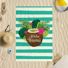 "58""x39"" Aloha Hawaii Stripey Design Microfibre Beach Towel Sun Bathing Pool Swim"
