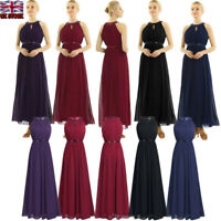 UK Lady Chiffon Long Bridesmaid Halter Bridal Maxi Prom Gown Princess Lace Dress