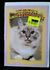 "F17)Carte ""Heureux Anniversaire"" Chat + enveloppe - Neuf"