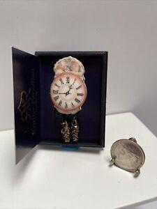 Vintage Reutter Porcelain Rose Clock Beautiful Dollhouse Miniature 1:12