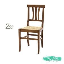 Sedia Arte Povera con Seduta in Paglia color NOCE - 2 pezzi Spedizione GRATIS