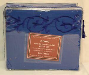 Egyptian Comfort 2000 Series Royal Blue Bed Sheet Set Deep Pocket King Queen