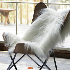 amazing icelandic genuine soft long wool sheepskin rug whiteivory 2 w x 35 l