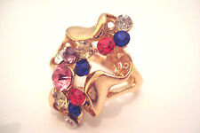 Large Gold Tone Ladies Multi Colour Glass Stones Statement Cocktail Ring Size R