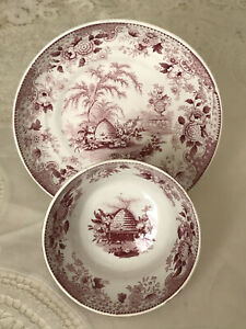 Staffordshire Transferware Beehive Cup Saucer Mulberry
