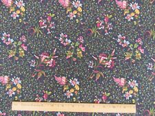 """REPRODUCTION FABRIC """"DARGATE POLYCHROMES"""" 1 YD  BLUE MARGO KRAGER c.1830 ANDOVER"""