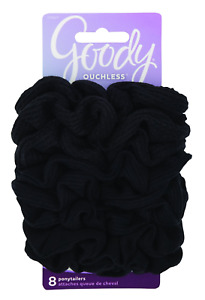 Ouchless Hair Scrunchie, 8 count, Black - BUY MORE THAN 1 & SAVE 20% !!!