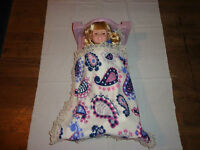 doll bedding for 18 inch american girl blanket pillow set blue brown horse 45
