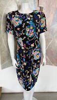 Vintage Diane Von Furstenberg DVF Floral Bird Fruit Silk Belted Sheath Dress 12