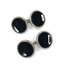 Antique Edwardian Black Enamel Cufflinks Round Double Sided Silver Tone Art Deco