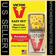 4 FOR $8  ! — FREE S&H ! —2 PACKS OF 2 —VICTOR— M035—EASY SET—WOODEN—MOUSE TRAPS
