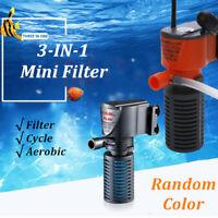3 in 1 Mini Aquarium innen Filter Sauerstoff Unterwasser Pumpe für Fisch Tank