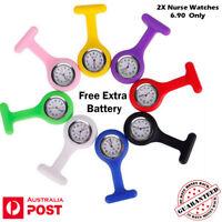 2X Silicone Nurse Watch Pendant Pocket Tunic Nursing Brooch Fob Nurses Watch  AU