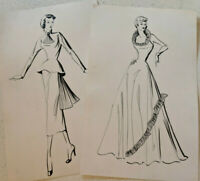 Vintage 1950s Women's Fashion Art Sketch Drawing Gown Suit Lot Of 2