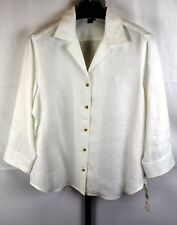 NWT Lauren White 100% Linen Button Blouse Plus Size XL