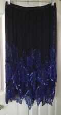 O.R. SILK FASHIONS 100% Silk Black Embellished Flapper Style Skirt ~ Sz Medium