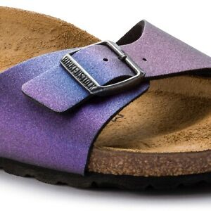 Birkenstock Womens Madrid Birko Flor Icy Metallic Violet Purple Sandals 1014297