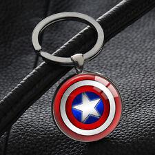 New Captain America Logo Keychains Silver Glass Round Pendant Key Chain Keyring