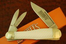 MARBLES FLUTED GENUINE MOTHER OF PEARL HAWK HEAD WHITTLER KNIFE NICE (4349)