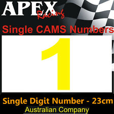 CAMS Window Number 1 Sticker - Single Number 23cm - Race Rally Drift - Yellow