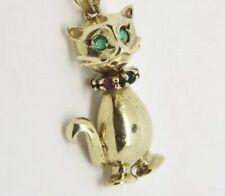 Cat Pendant - Multi Stone Set - 9ct Yellow Gold - 23x15mm