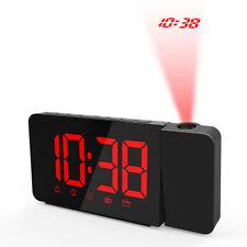 USB Operated LED Projection Alarm Clock Dimmable FM Radio Desktop Clock E6L1