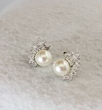 Elegant silver plated simulated pearl flower design cz stud earrings