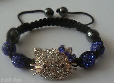 Hello Kitty Shamballa Blue Czech Crystal Bracelet +Free pair of earrings