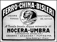 PUBBLICITA' 1930 FERRO CHINA BISLERI ACQUA MINERALE NOCERA UMBRA FONTE ANGELICA