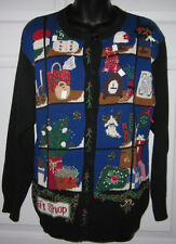 Susan Bristol Fun Embellished Christmas X-Mas Holiday Cardigan Sweater Petite M