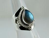 Flashy Blue Labradorite 925 Solid Sterling Silver Handmade Ring Size F - Z1/2 UK