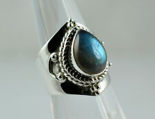 Flashy Blue Labradorite 925 Solid Sterling Silver Handmade Ring Size F - Z1/2 UK