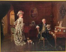 "Talbot Hughes (British, 1869-1942) Original Oil Painting ""The Letter"", 1891"