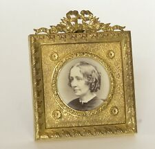 French Brass Photo Frame with Albumen Image of Woman in Profile, ca. 1880-1910