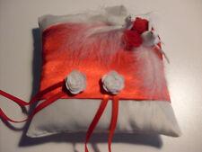 Coussin mariage pour alliances colombes rouge et blanc