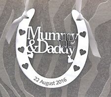 Personalised Mummy & Daddy Wedding Horseshoe Keepsake,Bridal Gift FREE GIFT BAG