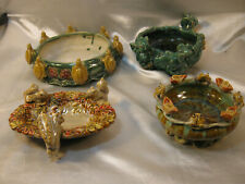 4 Majolica Style Pottery Bowls With Frogs, Turtles, Squirrels And Elephants