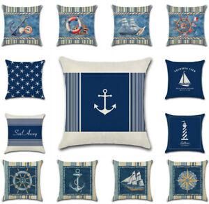 "UK 18"" Nautical Art Blue Sea Ocean Cushion Cover Pillow Case Sofa Home Decor New"